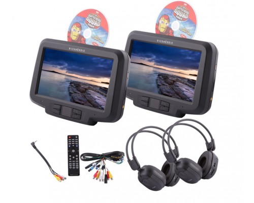 Vizualogic RoadTrip Elite Universal Headrest DVD players for vehicles with or without Active headrests