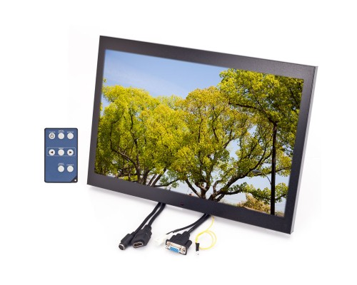 Quality Mobile Video QMV-LCDM154VGANBR 15.4 inch Panel mount LCD monitor - Front right with remote control