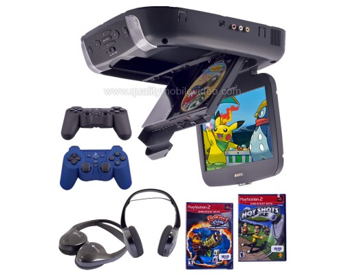 Discontinued - Advent by Audiovox ADV10PS2 Overhead Flip Down 10.2 inch LCD Monitor with Sony Playstation2 DVD Game Console, PS2 Games, Headphones and Controllers
