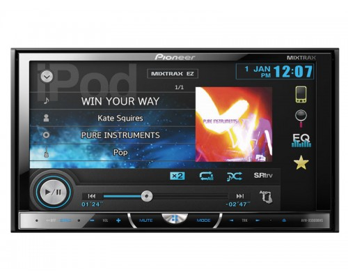 Pioneer AVH-X5500BHS Double DIN Multimedia DVD Receiver with 7 inch touchscreen Display, AppRadio Mode, Sirius XM ready, Bluetooth, and MIXTRAX