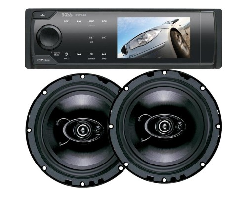 DISCONTINUED - Boss Audio 675CK Single DIN 3.2 Inch Widescreen In Dash DVD Multimedia LCD Monitor and 1 Pair of Duo-Fit (5 1/4 inch and 6 1/2 Inch) Speakers Combo