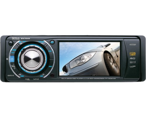 DISCONTINUED - Boss Audio BV7940 Single DIN 3.6 Inch Widescreen In Dash DVD Multimedia LCD Monitor with Front Panel AUX, USB and SD Ports