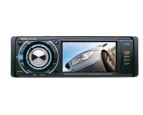 DISCONTINUED - Boss Audio BV7945B Single DIN 3.6 Inch Widescreen In Dash DVD Multimedia LCD Monitor with Bluetooth, Front Panel AUX, USB and SD Ports
