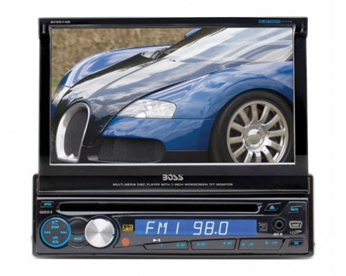DISCONTINUED - Boss Audio BV9974B In Dash Single DIN 7 Inch Motorized Flip Out Widescreen Touchscreen LCD Monitor Multimedia DVD Receiver, Bluetooth, Detachable Face