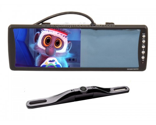 DISCONTINUED - Back Up System Combo Kit - Boyo VTB702M 7 inch Rear View Mirror Monitor and VTL422C Zinc Metal Bar Black License Plate Back Up Camera