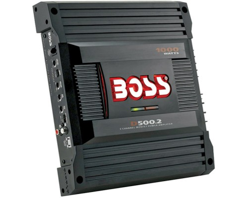 Boss D500-2 2-Channel MOSFET Bridgeable Power Amplifier with Remote Subwoofer Level Control