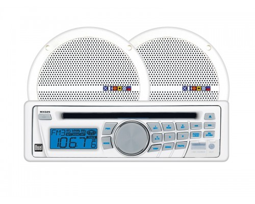 Dual MXCP25 Marine AM/FM/CD Receiver with Detachable Face and USB plus 6.5 Inch Dual Cone 60 Watt Speaker Pair Combo Pack