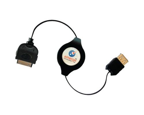 Retrak_Emerge ETIPODUSBN iPod® Retractable USB 2.0 Sync & Charge Cable 3.2 Ft Black