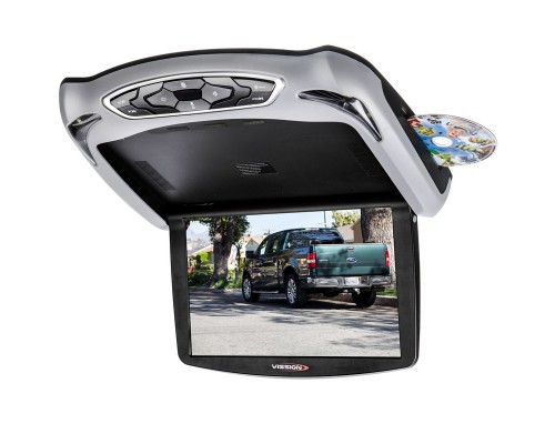 Quality Mobile Video QMV-RFIC13D 13 inch Overhead DVD Player - Grey trim installed with DVD