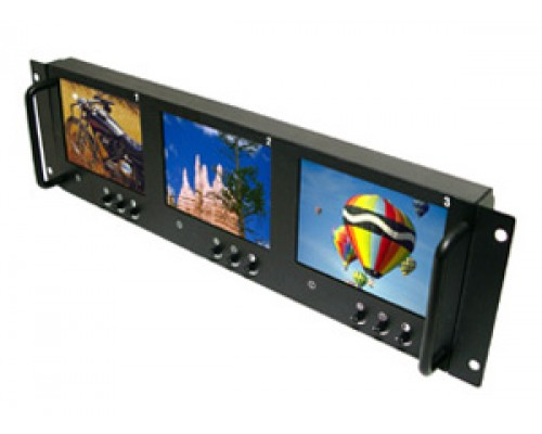 """Accelevision LCDRM563 Rack Mount 5.6"""" Display 3-Screen LCD Monitor"""