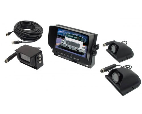 Accelevision LCDRV700K Commercial Grade Back Up Camera System with 3 Camera Set