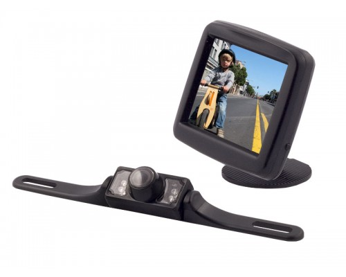 Accelevision TRVCWL35E 360 Optix 3.5 inch LCD Monitor and IR Infrared License Plate Wireless Back Up Camera System