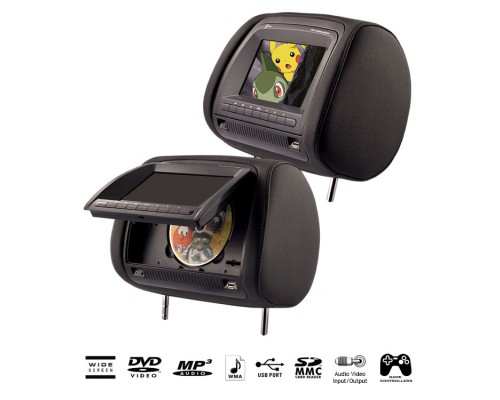 Discontinued - Zicom by Accelevision ZHD700 Dual Universal Headrest Monitors with 7 inch Widescreen LCD, Multimedia DVD Player, Skins Covers, USB and SD Ports