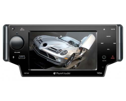 Discontinued - Planet Audio P9715B In Dash Single DIN 5 Inch Motorized Slide Down Widescreen Touchscreen TFT LCD Monitor Built In Multimedia DVD Receiver & Bluetooth
