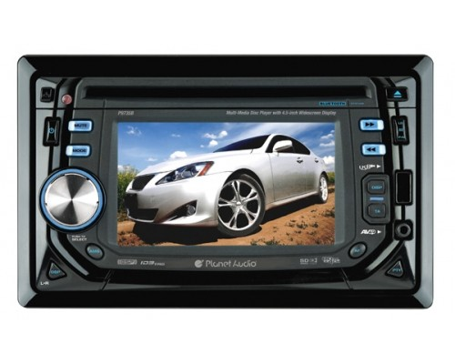 DISCONTINUED - Planet Audio P9735B In Dash Double DIN 4.5 Inch Widescreen Touchscreen TFT LCD Monitor with Built In Multimedia DVD Receiver and Bluetooth