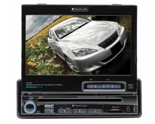 DISCONTINUED - Planet Audio P9755B In Dash Single DIN 7 Inch Motorized Flip Out Widescreen Touchscreen TFT LCD Monitor Built In Multimedia DVD Receiver & Bluetooth