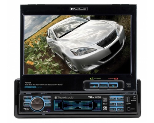 DISCONTINUED - Planet Audio P9765B In Dash Single DIN 7 Inch Motorized Flip Out Widescreen Touchscreen TFT LCD Monitor Built In Multimedia DVD Receiver & Bluetooth