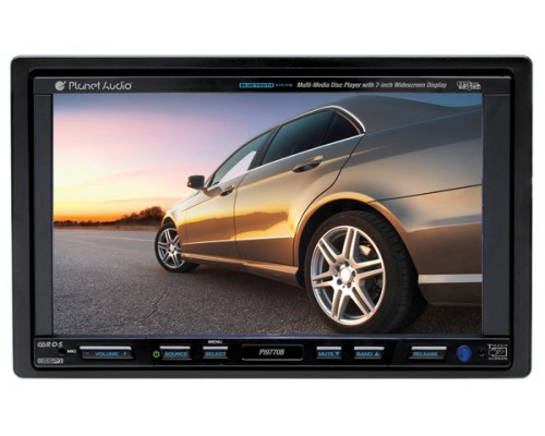DISCONTINUED - Planet Audio PI9770B In Dash Double DIN 7 Inch Widescreen Touchscreen TFT LCD Monitor with Built In Multimedia DVD Receiver, Bluetooth & iPod Control