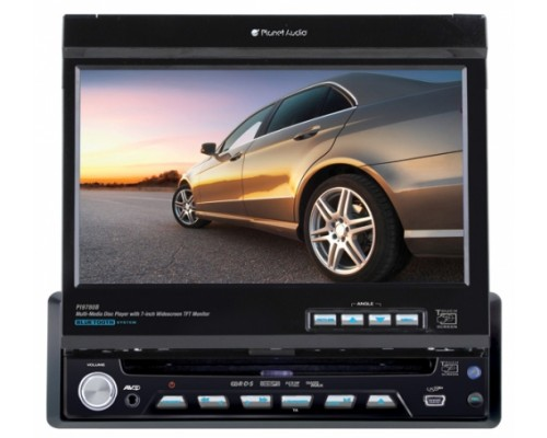 DISCONTINUED - Planet Audio PI9780B In Dash Single DIN 7 Inch Motorized Flip Out Widescreen Touchscreen TFT LCD Monitor Built In Multimedia DVD Receiver & Bluetooth