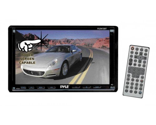 DISCONTINUED - Pyle PLDN72BT Double DIN In Dash 7 Inch Motorized Touchscreen LCD Monitor with Bluetooth, 80W x 4 DVD Multimedia Receiver, USB and SD Slots