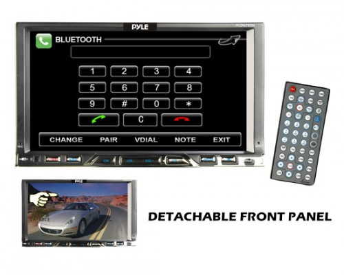DISCONTINUED - Pyle PLDN76DB Double DIN In Dash 7 Inch Motorized Touchscreen LCD Monitor with Bluetooth, 80W x 4 DVD Multimedia Receiver, USB and SD Slots