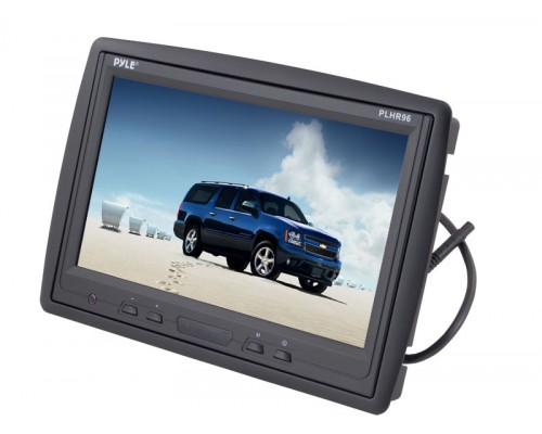 Pyle PLHR96 9'' TFT LCD Headrest Monitor with pedestal stand and infrared headphone transmitter - In headrest shroud