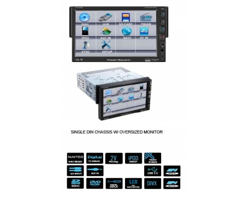 DISCONTINUED - Power Acoustik PTID-7000NR 7 Inch Single Din Motorized Front Panel TFT LCD Detachable Touch Screen Monitor with AV Source Unit