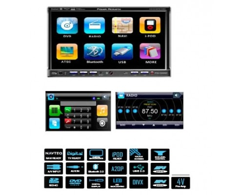 DISCONTINUED - Power Acoustik PTID-7350NR 7 Inch Touch Screen Double Din Fully Motorized Flip Up TFT LCD Monitor