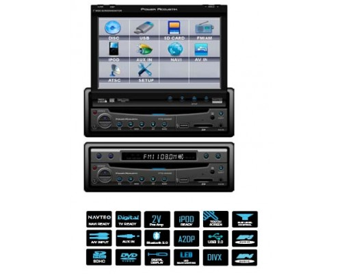 DISCONTINUED - Power Acoustik PTID-8940NRBT 7 Inch Touch Screen Single Din Fully Motorized Flip Up TFT LCD Monitor with DVD, AV and Bluetooth