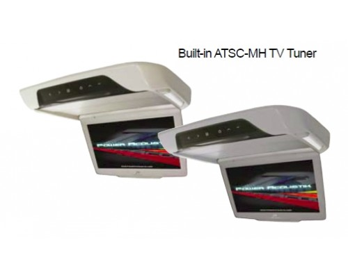 Power Acoustik PT-100GRMH Grey 10.3 Inch Universal Roof Mount Flip Down Widescreen TFT LCD Monitor and Built in ATSC-MH TV Tuner