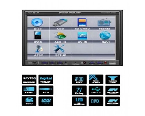 DISCONTINUED - Power Acoustik PTID-7250NR 7 Inch Touch Screen Double Din Fully Motorized TFT LCD Monitor with DVD