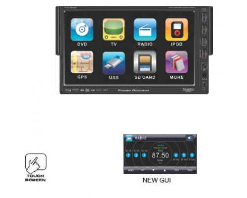 "DISCONTINUED - Power Acoustik PTID-7002NR 7"" Touch Screen 1-Din Oversized Fully Motorized TFT Monitor DVD/AM/FM"