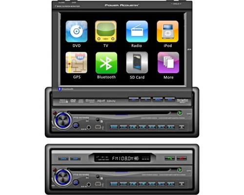 DISCONTINUED - Power Acoustik PTID-8970NRB 7 inch Touch Screen Monitor and Receiver with Bluetooth