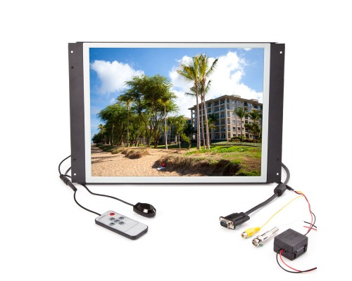 Quality Mobile Video PLVW15IW 15 inch Metal Housed LCD monitor - Front with input connections