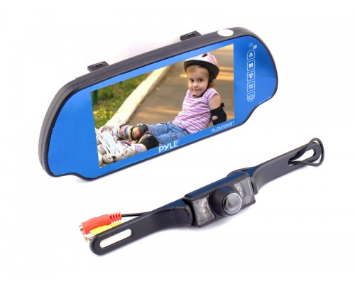 DISCONTINUED - Pyle PLCM7300BT 7 Inch Widescreen TFT Rear View Mirror Monitor with Back Up Night Vision Camera and Built In Bluetooth