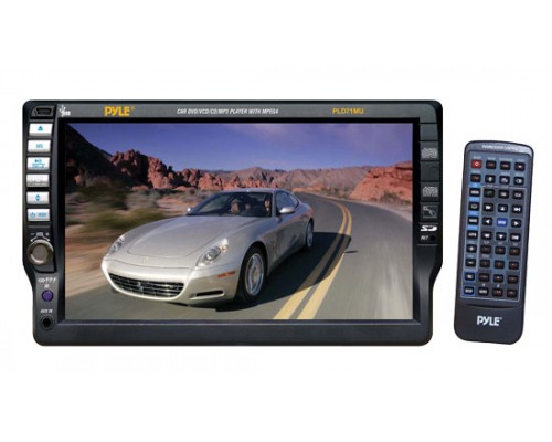 DISCONTINUED - Pyle PLD71MU Single DIN In Dash 7 Inch Motorized Touchscreen LCD Monitor with 80W x 4 DVD Multimedia Receiver, USB and SD Slots