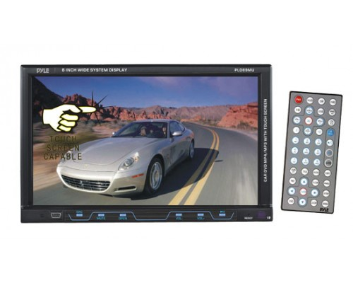 DISCONTINUED - Pyle PLD89MU 8 Inch Single DIN In Dash Motorized Drop Down LCD Touchscreen Monitor and Multimedia DVD Receiver with USB, SD and AUX Inputs