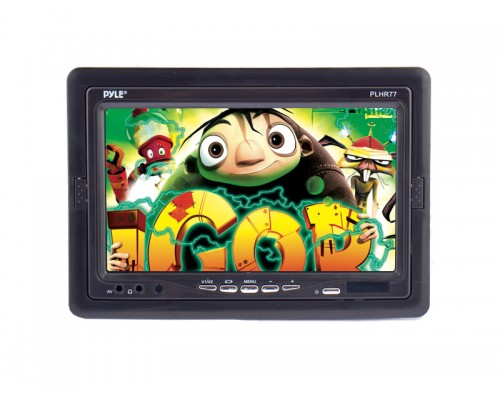 Pyle PLHR77 7 Inch Universal Replacement Widescreen Headrest Video LCD Monitor with Shroud and Stand Mount