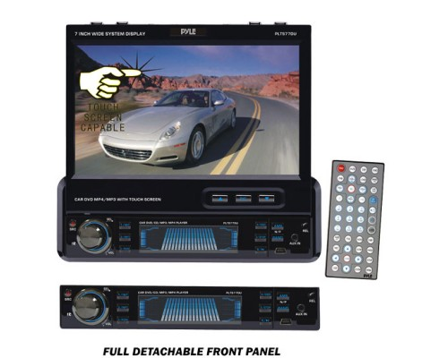 DISCONTINUED - Pyle PLTS77DU Single DIN In Dash 7 Inch Motorized Touchscreen LCD Monitor with DVD Multimedia Receiver, USB and SD Slots