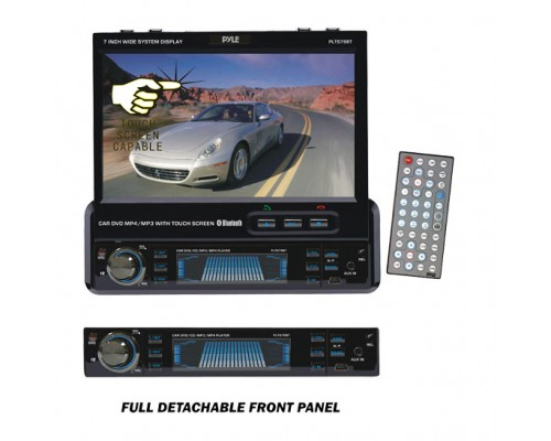 DISCONTINUED - Pyle PLTS79BT Single DIN In Dash 7 Inch Motorized Touchscreen LCD Monitor with DVD Multimedia Receiver, Bluetooth, RDS, USB and SD Slots