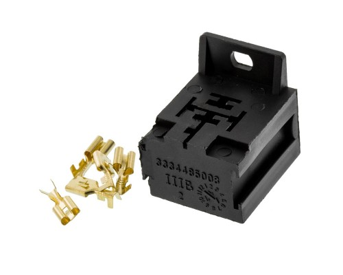 Quality Mobile Video RS102E 12 VDC Automotive 5-Pin Relay Socket with interlock, raw pins, and mounting tab