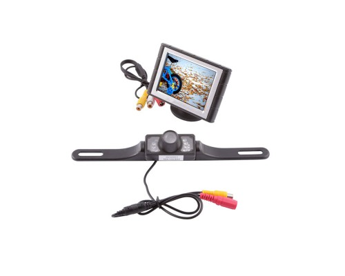 "Safesight SC0301-SC3102 3.5"" Reverse back up monitor with license plate mount reverse camera"