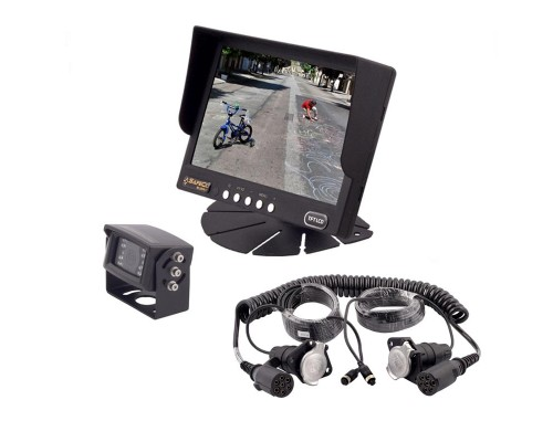 Safesight SC9002 Universal 7 inch LCD Monitor, Heavy Duty Weatherproof Back Up CCD Camera and SC1201 Trailer Cable 7 Pin for Commercial Vehicles