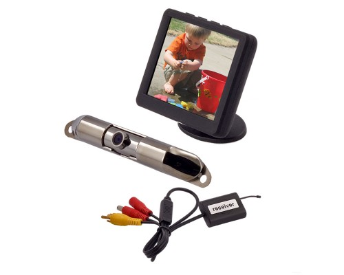 DISCONTINUED - Safesight SC9201 Universal 3.5 inch LCD Monitor and Rear View Back Up Reverse Parking License Plate Mount Camera with Wireless Transmitter