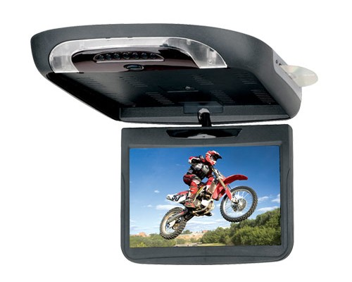 DISCONTINUED - Sound Storm (SSL) S11.2C Widescreen 11.2 Inch Flip Down Ceiling Mount LCD Swivel Monitor with Built In DVD Player and Snap On Color Skins