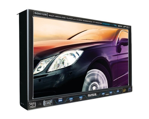 """DISCONTINUED - Soundstorm SD812B 8"""" Single-DIN Flip-Out Touchscreen In-Dash Multimedia DVD Receiver with Bluetooth"""