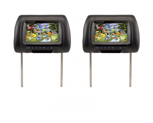 """DISCONTINUED - Accelevision THR700B 7"""" Dual headrest monitors - Pair"""