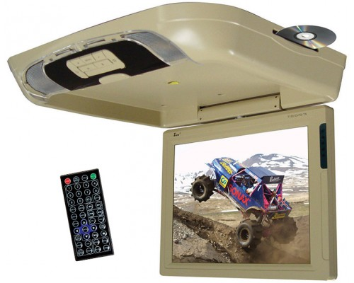 """Tview T1591DVFD 15"""" Overhead Flip Down Monitor with Built In DVD Player"""