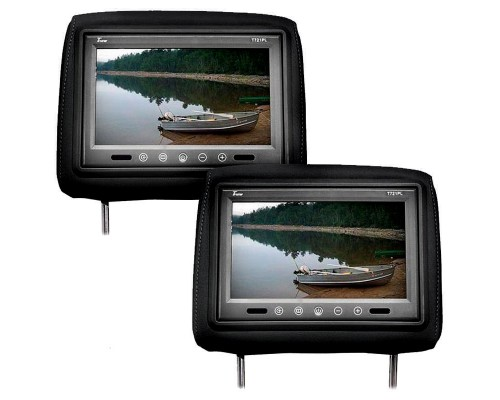 Tview T721PL-BK 7 Inch Universal TFT LCD Headrest Monitor Pair with Touch Buttons - Black