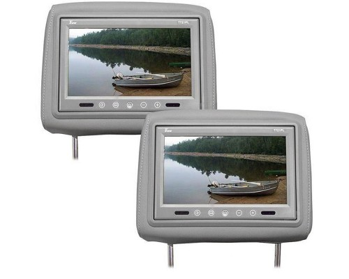Tview T721PL-GR 7 Inch Universal TFT LCD Headrest Monitor Pair with Touch Buttons - Grey